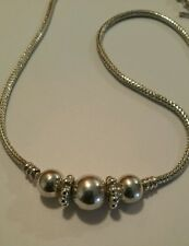 Sterling Silver Necklace 50gr Triple Bead 3.2mm Snake Chain Toggle Clasp Heavy