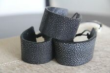 100% Genuine Shagreen Skin Cuff Bracelet Exotic Stingray Leather Adjustable