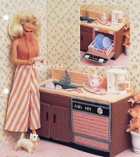 """""""DISHWASHER & SINK""""~Plastic Canvas PATTERN ONLY for BARBIE FASHION DOLL"""