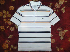 $115 Lacoste Men White Polo Shirt Size 5 Medium M Authentic Short Sleeve Striped