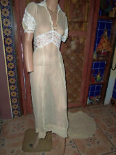 VICTORIAN/EDWARDIAN, SHEER CREAM NIGHTGOWN WITH SMALL TRAIN