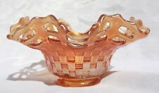 Fenton Carnival Glass Marigold/ Pumpkin  Basket weave Open Lace Edge