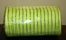 """6"""" x 10 Yards Lime Green  DECO POLY MESH w/ Foil Ribbon Wreaths Garland NEW"""