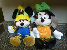 "Disney Store Mickey & Minnie 2016 Halloween Plush Set 15"" Scarecrow Pumpkin NWT"