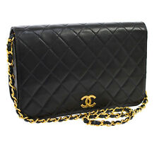 Auth CHANEL Quilted CC Single Chain Shoulder Bag Black Leather Vintage S05076