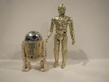 Vintage Star Wars R2-D2 (solid dome) & C-3PO (fixed limbs) figure lot ORIGINAL