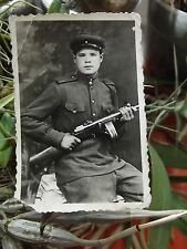 ORIGINAL FOTO 1946. The young Soviet soldier with the PPSh-41 submachine gun.