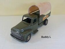VINTAGE BUDDY L PRESSED STEEL TOY ARMY TRANSPORT CARGO TRUCK USA MILITARY RARE