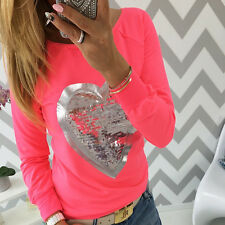 Fashion Women Lady sequin Heart Love Round Neck Long Sleeve Top T-shirt Blouse