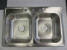 "KITCHEN SINK 3 HOLE 33""X22""X6"" STAINLESS STEEL DOUBLE BOWL WITH CLIPS NEW"