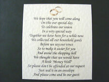 20 Wedding poems asking for money gifts not presents Ref No 14