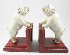 British Bulldog bookends - Very Heavy Rustic Cast Iron Dog Bookends