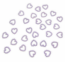 200 LILAC PEARL HEART SHAPED DOUBLE SIDED 11MM TABLE DECORATION SCATTER BEADS