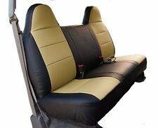 FORD F-250 350 BLACK/BEIGE IGGEE S.LEATHER CUSTOM FIT BENCH FRONT SEAT COVER
