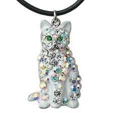 NEW KIRKS FOLLY DIAMOND LIL CAT CORD NECKLACE SILVERTONE/WHITE
