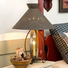 Betsy Ross Table Lamp in Blackened Tin w/ Stars | Country Primitive Accent Light