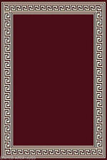 "8x10  Area Rug Modern Greek Key Design Burgundy with Border Size 7'7""x10' New"
