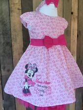 Minnie Mouse Pink Baby Girl Dress With Knickers And Headband Set Age 9-12 Months