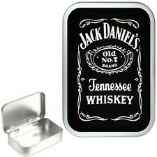 JACK DANIELS SILVER HINGED TIN BOX,STORAGE TIN BOX,PILL TIN,POCKET TIN