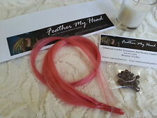 Human Hair Extensions Pink DIY Kit 20 Inches Long With Tool Kit / Beads