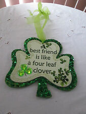 Wooden Happy St. Patrick's Day Wall Decor Best Friend Like Four Leaf Clover New