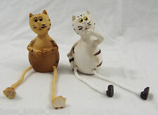 1 Pair (2, Two) of Roped Dangle Leg Resin Cats Figures White & Orange Cat 4""