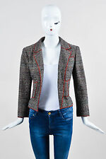 Chanel Black White and Red Tweed Structured Serged Trim LS Jacket
