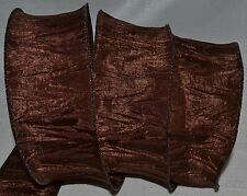 Wired Ribbon~Brown Crinkle~Thanksgiving~Halloween~Autumn~Fall~Wreath~Gift~Bow