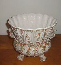 Antique Italian V. Bassano Hand-Painted Majolica Planter .