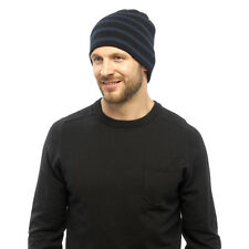 Winter Men Striped Pattern Knitted Warm Beanie Hat/Cap One size Black Rinse Blue