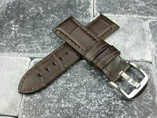 24mm Alligator Grain Leather Strap Dark Brown Watch Band Brown PANERAI PAM 24