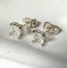 Beautiful New White Gold Filled 5mm CZ Princess Cut Square Stud Earrings