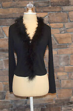 NEW MOSCHINO Black Rabbit Fur Trim Cardigan Sweater Sz 4 (38 Italy)