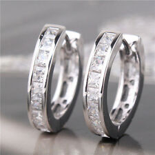 Fashion New WOMEN SILVER PLATED CZ SMALL ROUND HUGGIE HOOP EARRINGS
