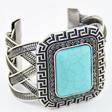 Boho Vintage Tibetan Silver Turquoise Rectangular Open Wide Bangle Cuff Bracelet