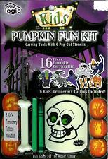 Home Logic Kids' PUMPKIN FUN KIT Carving Tools with 6 Pop-Out Stencils - Tattoos