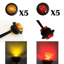 "10x Amber & Red 3/4"" Bullet Clearance Side Marker Truck Trailer Mini LED Lights"
