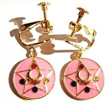 SAILOR MOON pink gold COMPACT EARRINGS for pierced/nonpierced ear anime manga 6F