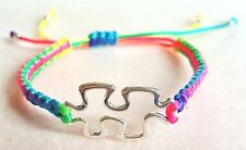 Autism Awareness Puzzle Piece Macrame Flat Multi-coloured Bracelet