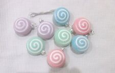Christmas Pastel Sugar Glitter Candy Ornaments Decorations Set of 8