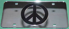 PEACE SIGN LOVE HIPPIE FLOWER MIRROR LASER LICENSE PLATE INLAID ACRYLIC  CHROME