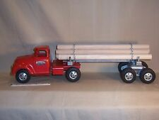 Vintage Tonka Logging Wood Hauler Pressed Steel Toy Semi Timber Truck & Trailer