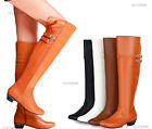 Women's Mid Heel Boots Over Knee High Side Zipper Strappy Shoes AU All Sz Y210