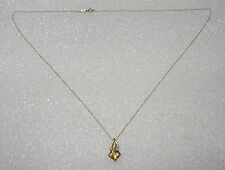 10K YELLOW GOLD CITRINE AND DIAMOND PENDANT ON 18 INCH CHAIN NECKLACE N202-N