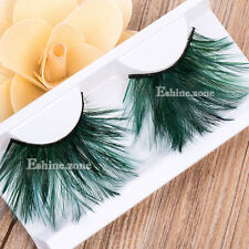 Makeup Green Fasle Feather Eye Lashes Soft Fancy Eye Lahs Party Halloween Stage
