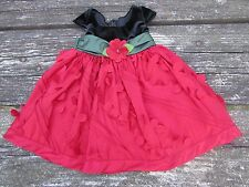 Bonnie Baby Girls Holiday Christmas Dress 12 Months Black Green Red Flower Petal