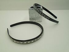 2 Pc Set - Rhinestone Plastic Crystal Headband Hair Black Hairband Accessory-