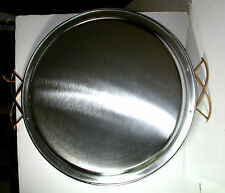NOS Antique Vintage Large Silver Serving Tray w/ Gold Accent Handles