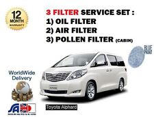 FOR TOYOTA ALPHARD 2.4i MPV IMPORT 2002-  OIL AIR POLLEN 3 FILTER SERVICE KIT