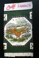 Whitetail Deer &  Bear Family Fabric Panels VIP Cranston Applique Pillow Green